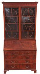 Antique quality Georgian revival mahogany bureau bookcase desk writing table