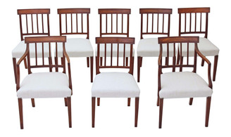 Antique set of 8 (6 + 2) mahogany Georgian Regency dining chairs