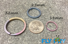 One 32mm Titanium Flat Split Ring - Your choice of colors: Natural, Blue, Purple, Gold, Bronze, or Green.