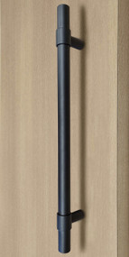 Product Image Pro-Line Series: Ladder Pull Handle with Collar Mounting Posts - Back-to-Back, Matte Black Powder Coated Finish, 304 Grade Stainless Steel Alloy