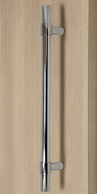 Product Image Pro-Line Series: Ladder Pull Handle with Collar Mounting Posts - Back-to-Back, Polished US32/629 Finish, 304 Grade Stainless Steel Alloy