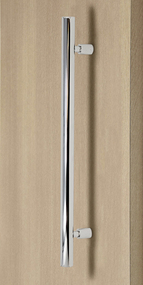 Product Image Pro-Line Series: Ladder Pull Handle with Floating Necked Posts - Back-to-Back, Polished US32/629 Finish, 304 Grade Stainless Steel Alloy