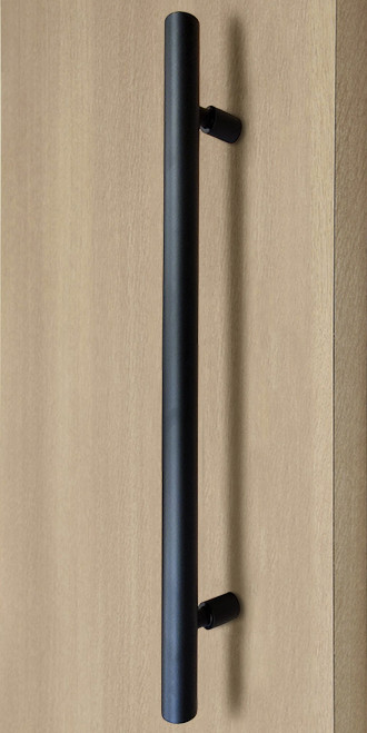 Product Image Pro-Line Series: Ladder Pull Handle with Floating Necked Posts - Back-to-Back, Matte Black Powder Coated Finish, 304 Grade Stainless Steel Alloy