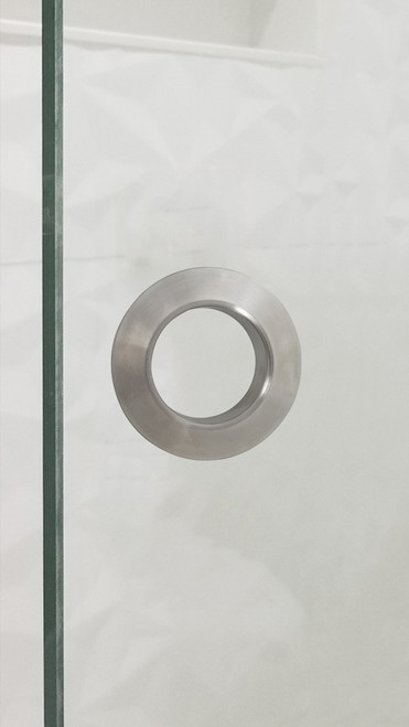 """Round Shower Twin 2.5"""" Diameter Back-to-Back Handle for Glass doors (Brushed Satin Stainless Steel Finish)  mockup on glass door"""