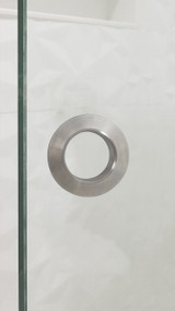 "Round Shower Twin 2.5"" Diameter Back-to-Back Handle for Glass doors (Brushed Satin Stainless Steel Finish)"