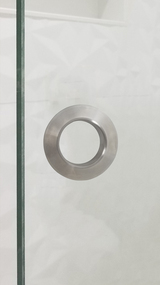 "Round Shower Twin 2.5"" Diameter Back-to-Back Handle for Glass doors (Brushed Satin Stainless Steel Finish)  mockup on glass door"