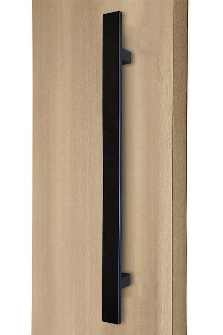 Flat Bar Ladder Pull Handle - Back-to-Back (Matte Black Powder Coated Stainless Steel Finish) mockup on wood door