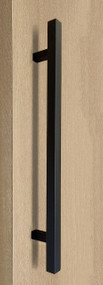 "One Sided 1"" x 1"" Square Ladder Pull Handle, Matte Black Powder Coated Finish, 304 Grade Stainless Steel Alloy"