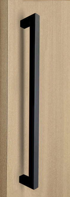 "One Sided 1"" x 1"" Square Pull Handle, Matte Black Powder Coated Finish, 304 Grade Stainless Steel Alloy"