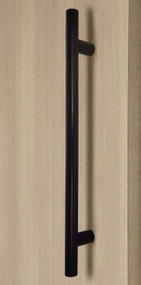 Pro-Line Series: Ladder Pull Handle - Back-to-Back, Oil Rubbed Bronze Finish, 304 Grade Stainless Steel Alloy mockup on door