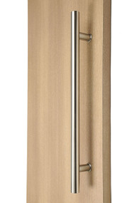 Ladder Pull Handle - Back-to-Back (Brushed Satin Stainless Steel Finish) mockup on wood door