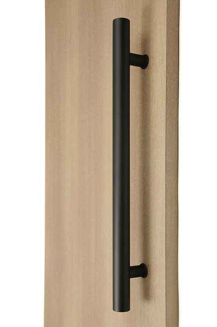 Ladder Pull Handle - Back-to-Back (Black Powder Stainless Steel Finish) mockup on wood door