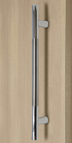 Pro-Line Series:  Ladder Pull Handle - Back-to-Back (Brushed Satin Stainless Steel  Grip US32D-630 Finish / Polished Stainless Steel Ends US32-629 Finish) mockup on wood door