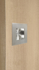 Square Flush Handle  with Concealed Fixing for Wood doors (Brushed Satin Stainless Steel Finish) mockup on wood door