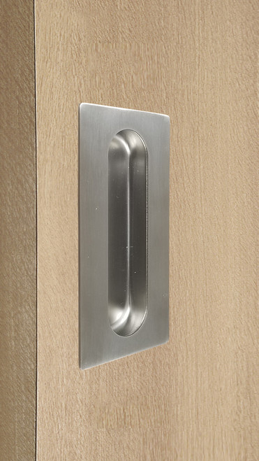 Rectangular Flush Pull with Concealed Fixing for Wood doors (Brushed Satin Stainless Steel Finish) mockup on wood door