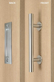 Barn Door Pull and Flush Tubular Door Handle Set (Brushed Satin Stainless Steel Finish) mockup on wood door
