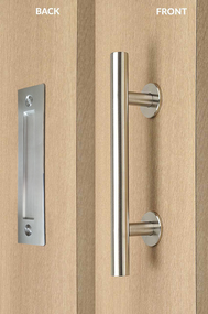 Barn Door Pull and Flush Tubular Door Handle Set (Brushed Satin Stainless Steel Finish) mockup on wood door