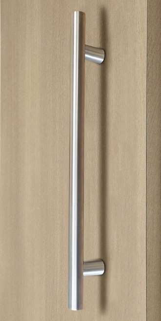 Pro-Line Series:  Ladder Pull Handle - Back-to-Back, Brushed Satin US32D/630 Finish,  316 Exterior Grade Stainless Steel Alloy  mockup on wood door