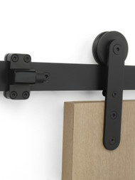 Close-up Torch - WF Series / Black Powder Stainless Steel Finish mockup on wood door