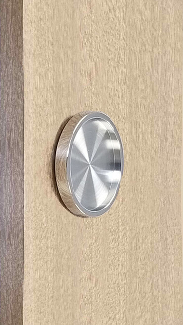 "Round Handle Back-to-Back - 2.5"" Diameter - For Wood and Glass Doors (Polished Stainless Steel Finish)"