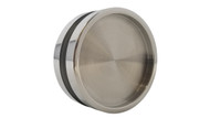 "Back View Round Handle Back-to-Back - 2.5"" Diameter - For Wood and Glass Doors (Polished Stainless Steel Finish)"