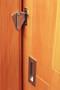 Sliding Barn Door Latch (Black Powder Finish)  mockup on wood door