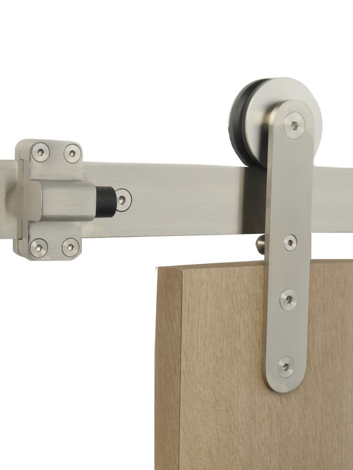 Close-up Torch - WF Series / Brushed Satin Stainless Steel Finish mockup on wood door