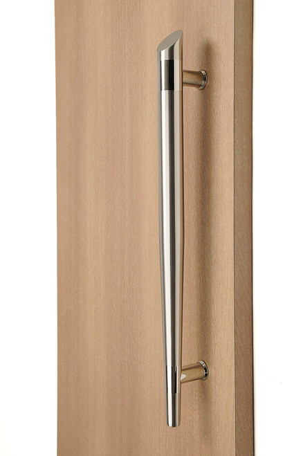 Olympic Torch Ladder Pull Handle - Back-to-Back (Brushed Satin Grip / Polished Stainless Steel Bands) mockup on wood door