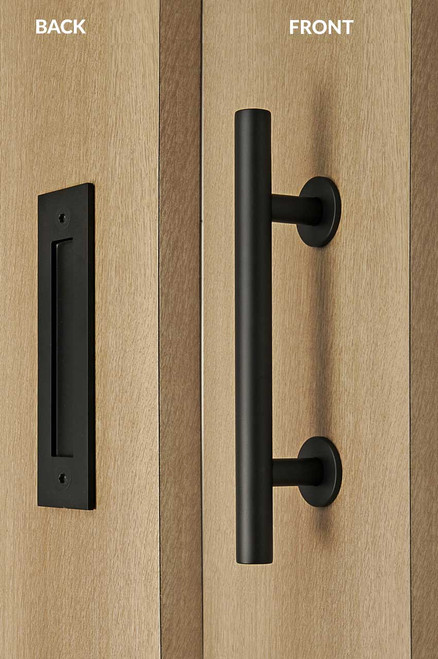 Barn Door Pull and Flush Tubular Door Handle Set (Black Powder Stainless Steel Finish) mockup on wood door