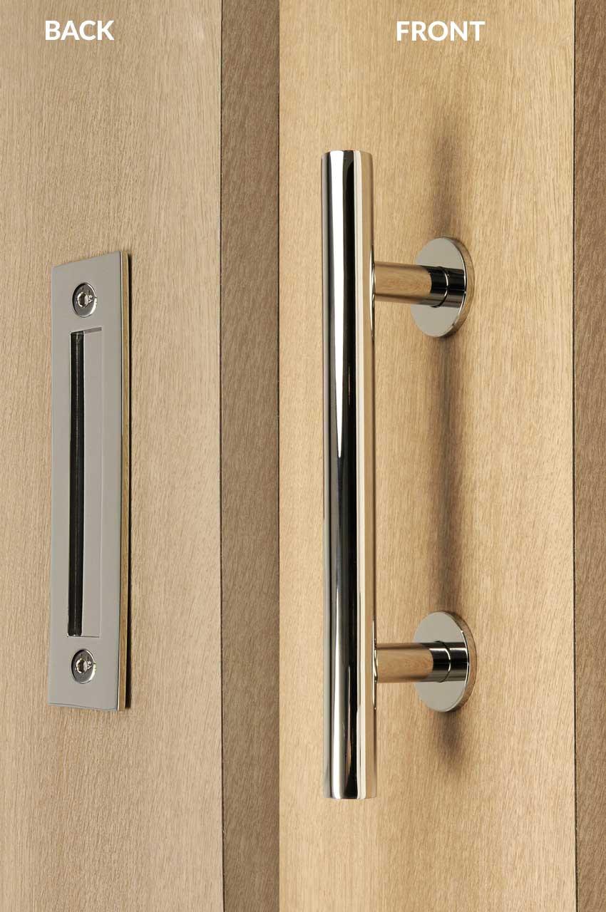 Pull And Flush Door Handle Set Polished Finish