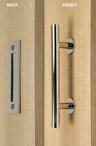 Barn Door Pull and Flush Tubular Door Handle Set  (Polished Stainless Steel Finish) mockup on wood door