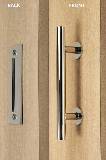 Barn Door Pull and Flush Tubular Door Handle Set  (Polished Stainless Steel Finish) mockup on wood door