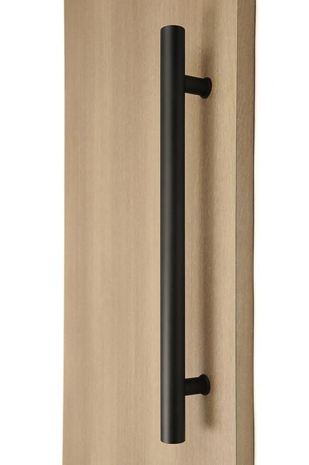 Ladder Pull Handle - Back-to-Back (Black Powder Stainless Steel Finish) mockup on wood door