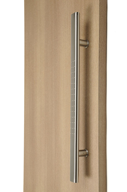 Flat Ladder Pull Handle with Stylish Dimples - Back-to-Back (Brushed Satin Stainless Steel Finish) mockup on wood door