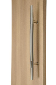 Ladder Pull Sleek Handle - Back-to-Back (Brushed Satin Finish / Polished Chrome Bands) mockup on wood door