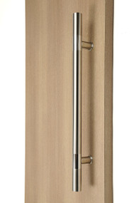 Ladder Pull Handle - Back-to-Back (Brushed Satin Finish / Polished Stainless Steel Bands) mockup on wood door