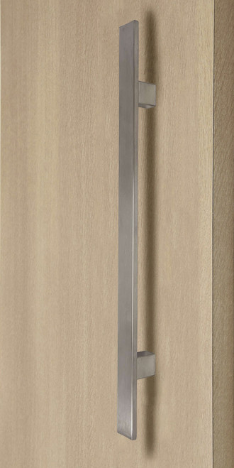 Flat Bar Ladder Pull Handle - Back-to-Back (Brushed Satin Stainless Steel Finish) mockup on wood door