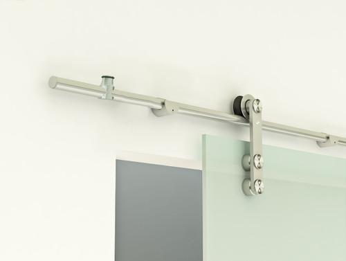 Grand - GF  Series (with adjustable rail hangers) mockup on glass door