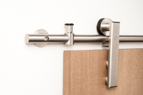 Gallant - WF Series / Brushed Satin Stainless Steel Finish mockup on wood door