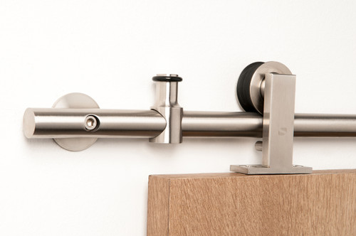 Gallant - WT Series / Brushed Satin Stainless Steel Finish mockup on wood door