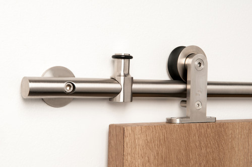 Legacy - WT Series / Brushed Satin Stainless Steel Finish mockup on wood door