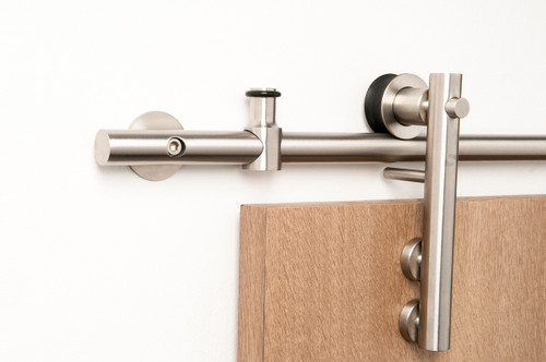 Lumina - WF Series / Brushed Satin Stainless Steel Finish mockup on wood door