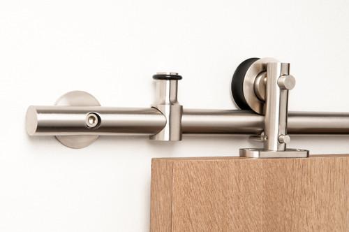 Lumina - WT Series / Brushed Satin Stainless Steel Finish mockup on wood door