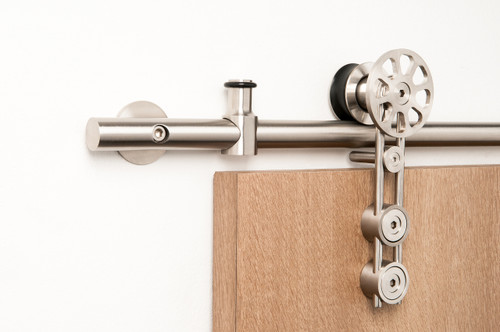 Spinner - WF Series / Brushed Satin Stainless Steel Finish mockup on wood door