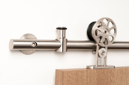 Spinner-WT Series RollerSpinner - WT Series / Brushed Satin Stainless Steel Finish mockup on wood door