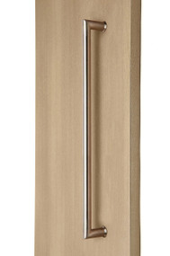 90° Pull Handle - Back-to-Back (Brushed Satin Stainless Steel Finish) mockup on wood door