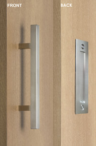 Barn Door Pull and Flush Square Door Handle Set  (Brushed Satin Stainless Steel Finish) mockup on wood door