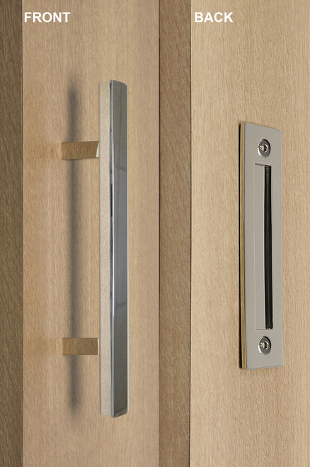 Barn Door Pull and Flush Square Door Handle Set (Polished Stainless Steel Finish) mockup on wood door
