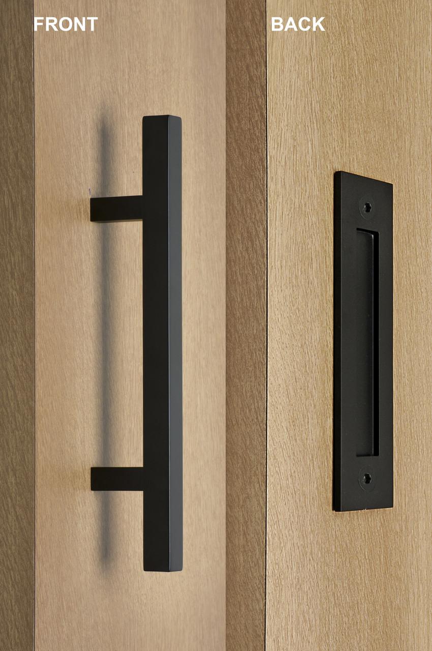pull and flush door handle set (black powder finish)image 1