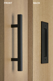 Barn Door Pull and Flush Square Door Handle Set (Black Powder Stainless Steel Finish) mockup on wood door